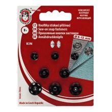 Gombíky stláčacie našívacie KIN Ms assorti 8, 10, 12mm (v.1 / 2, 2,4), čierne, 8ks