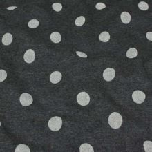 Teplákovina tmavě šedé melé s plyšem, krémový puntík, š.150
