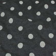 Teplákovina tmavo šedé melé s plyšom, krémový bodka, š.150