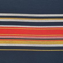 Kabátovina modrá, farebné pruhy, š.150