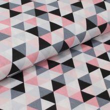 Bavlnené plátno, ružové, biele, čierne a šedé trojuholníky, š.160