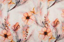 Ľan biely, oranžové kvety a listy, š.135