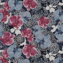 Svetrovina šedomodrá, růžový květ, š.145