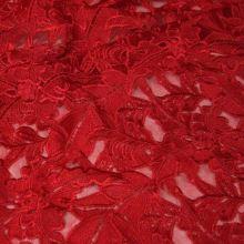 Tyl červený s výšivkou, š.130