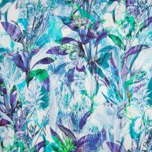 Bavlna modro-fialová, květy a listy, š.135