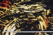 Satén černý, zvířecí vzor š.145