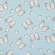 Magický úplet světle modrý, motýlci s glitry, š.150
