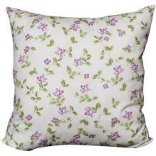 Povlak na vankúš krémový, fialové kvety s lístočkami, 45x45 cm
