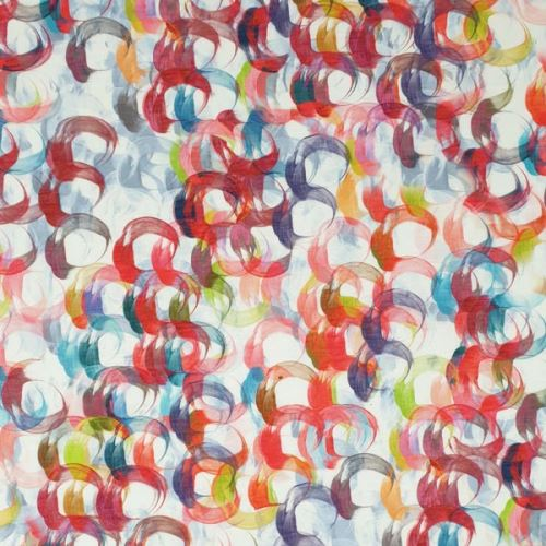 Úplet bílý, barevné kruhy, š.150