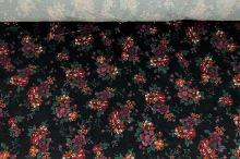 Zamat 06645 čierny, vínový kvet, š.140