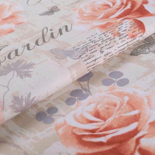 Bavlněné plátno béžové, růže a motýlci, š.145