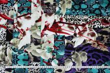 Úplet farebný 15158, zvieracie a kvetinový vzor, š.140
