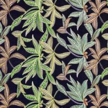 Šatovka 21816 černá, vyšívané zelené listy, š.130/140
