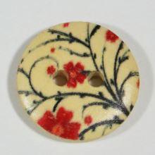 Knoflík dřevěný, červený květ, průměr 18 mm