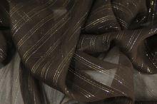 Hedvábný šifon tmavě hnědý s lurexem, š.130