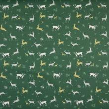 Popelín zelený, lesná zver, š.145