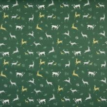 Popelín zelený, lesní zvěř, š.145