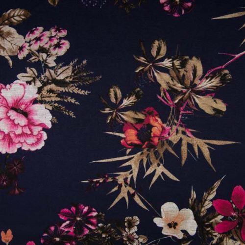 Úplet PUNTO PRINT modrý, barevné květy, 240g/m, š.150