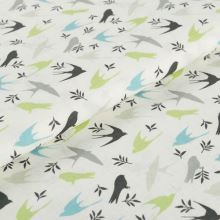 Bavlněné plátno krémové BW1558, ptáčci, š.145