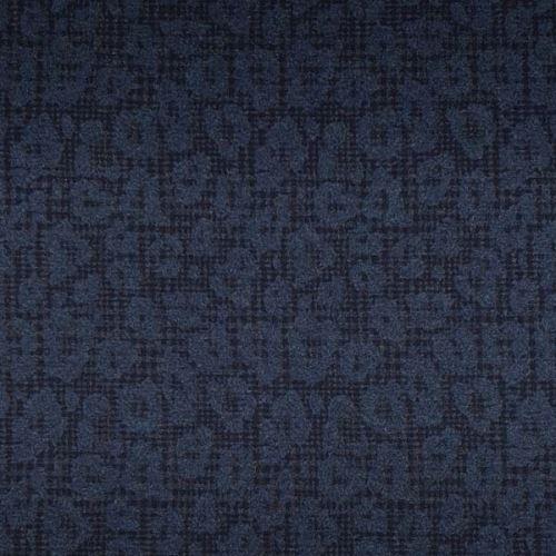 Kabátovina černá, modrý zvířecí vzor š.150