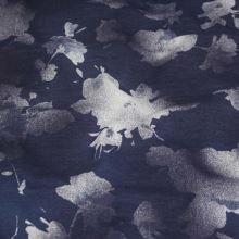 Teplákovina tmavě modrá, bílý květ š.180