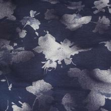 Teplákovina tmavo modrá, biely kvet š.180