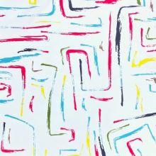 Dekoračná látka SATIN biela, farebný vzor, š.150