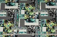 Úplet barevný 17776, květiny a obdélníky, š.150