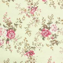 Dekorační látka P0555 vanilková, růžové květy, š.140
