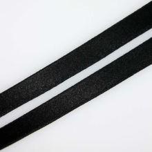 Stuha čierna saténová oboulíc, šírka 10mm
