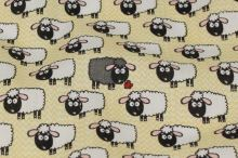 Bavlna béžová, ovečky, š.140