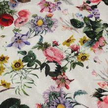 Madeira bílá,  barevný tisk květy a listy, š.140