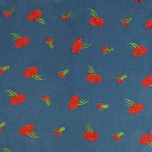 Kabátovina modrá, vyšívané červené květy, š.150