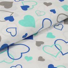 Bavlnené plátno biele, modrozelená srdce, š.160
