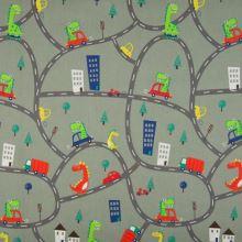 Popelín šedý, silnice, auta, dino, š.145