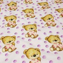 Bavlna bílá, fialový puntík, medvídci, š.160