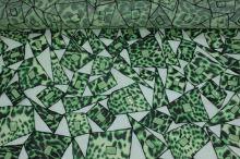 Šifon zelený, zelenočerná aplikace, š.100