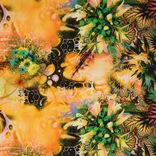 Satén žlto-oranžový s motívom zelených kvetov, š.145