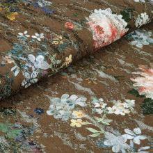 Krajka khaki, barevný květ, flitry š.150