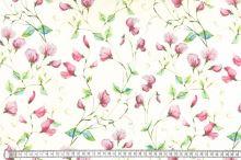 Dekorační látka SONJA krémová, růžové květy, š.160