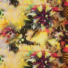 Satén žlutý s motivem vínových květin, š.145