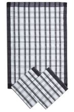 Utěrky z egyptské bavlny, tradiční tmavě šedé káro, 50x70cm, 3ks