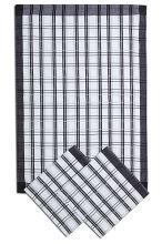 Utierky z egyptskej bavlny, tradičné tmavo šedé káro, 50x70cm, 3ks
