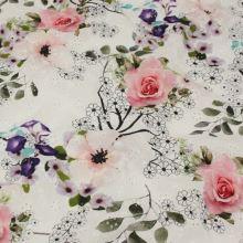 Madeira bílá, barevný tisk růžové a fialové květy, š.140