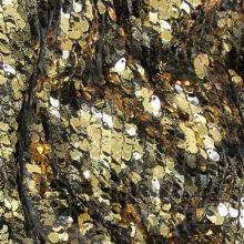 Flitry černo-zlaté květy š.130