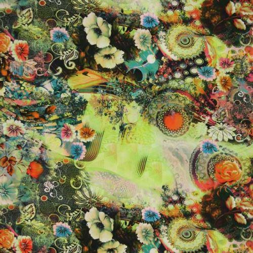 Satén zelený, zeleno-modré květy, š.145
