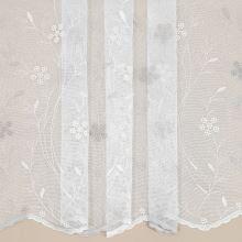 Záclona bílá s béžovo-šampáň květinovou výšivkou v.145cm