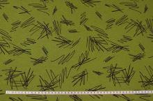 Warmkeeper, teplákovina zelená, černé čáry, š.150