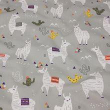 Bavlna šedá, bílé lamy a barevné kaktusy, š.160