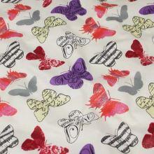 Bavlna smotanová, farební motýle, š.140